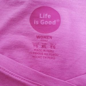 Life Is Good Tops - Life is Good Women Fitted Size XL T Pink Good Day